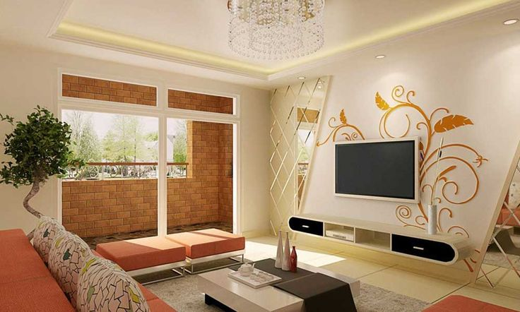 Drawing Room Painting Idea with orange flower for living room