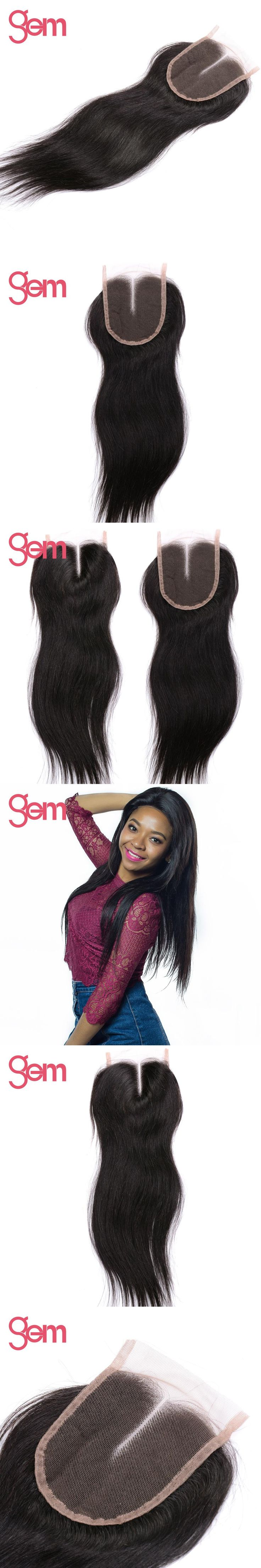 Brazilian Straight Hair 4x4 Middle Part Closure 100% Remy Human Hair Extensions GEM Swiss Lace Closure Natural Black 10-20 inch