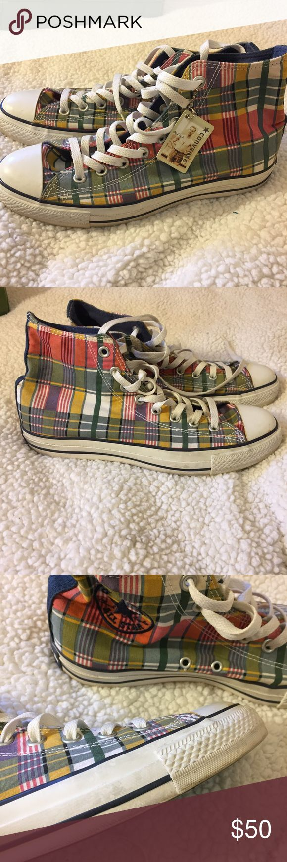 Plaid Converse Chuck Taylor Sneakers Really cool plaid print perfect for all seasons! Chuck Taylors run big please be aware of your size :) Converse Shoes Sneakers