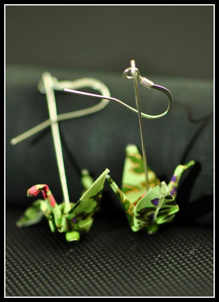 Green Crane Origami Earrings    Find in Online shop:www.misschopsticks.com.au