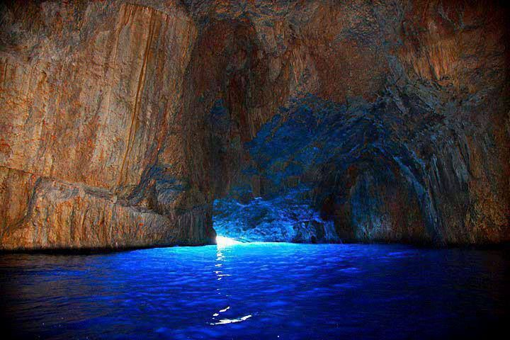 Entering the breathtaking Blue Cave in Kastelorizo