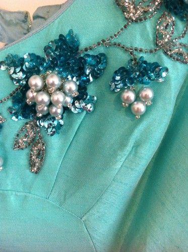 Vintage Turquoise Brushed Silk Beaded Dress