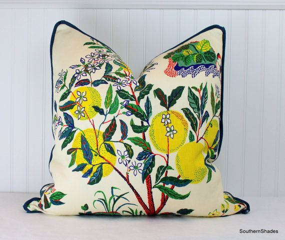 One or Both Sides - ONE High End Schumacher Citrus Garden Primary/Pool Pillow Cover with Self Cording