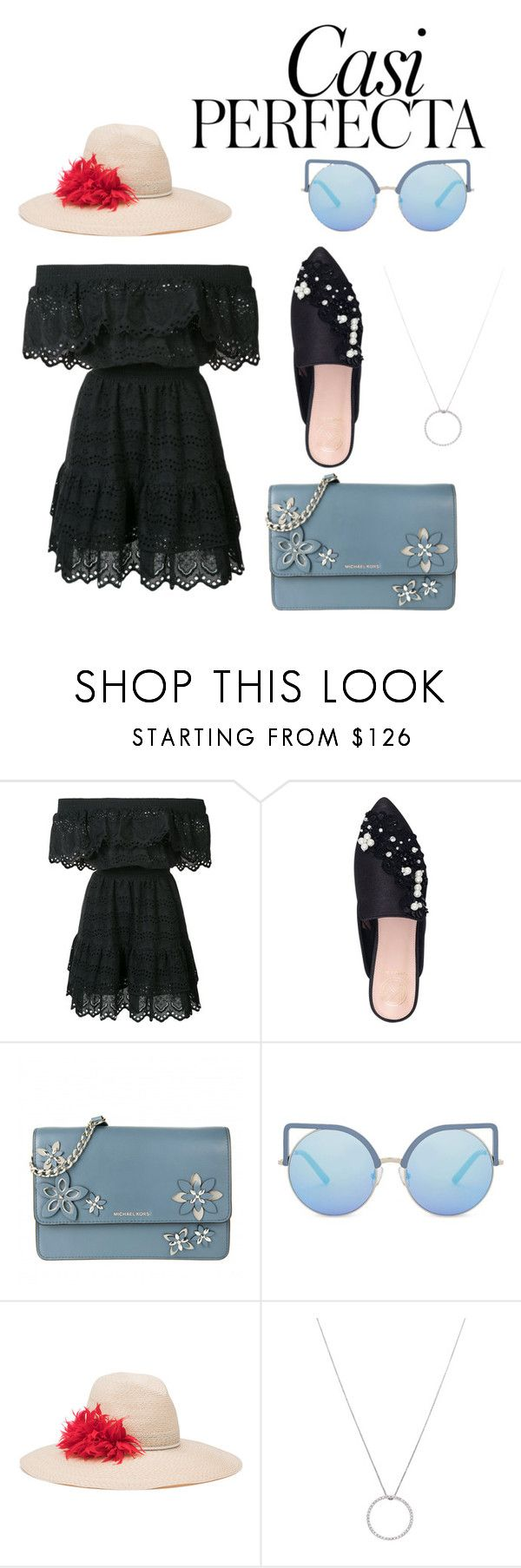 """Untitled #32"" by nerdygets on Polyvore featuring LoveShackFancy, KG Kurt Geiger, MICHAEL Michael Kors, Matthew Williamson, Eugenia Kim, Roberto Coin and Whiteley"