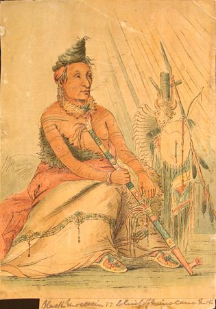 Minataree Native American Indian Tribal Tattoos  Artsit: George Catlin