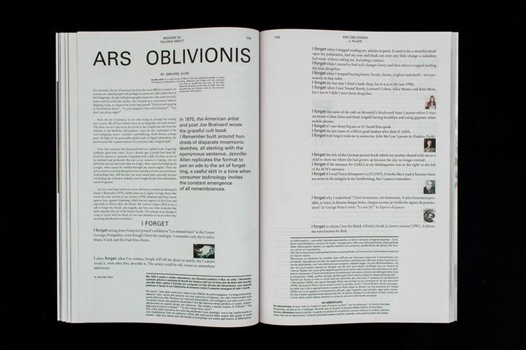 Mousse Magazine #53 ~ #jenniferallen #arsoblivionis #art #contemporaryart #magazine #moussemagazine