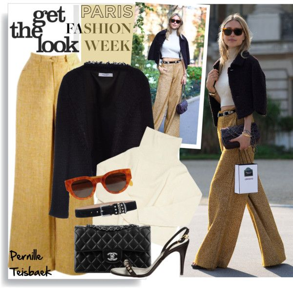 """""""Street Style at PFW/Pernille Teisbaek"""" by helenevlacho ❤ liked on Polyvore"""