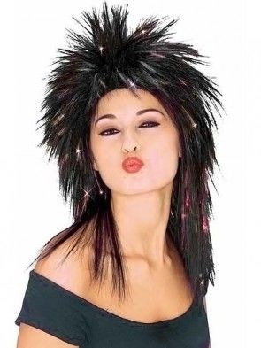 Black Superstar Wig with Red Tinsel