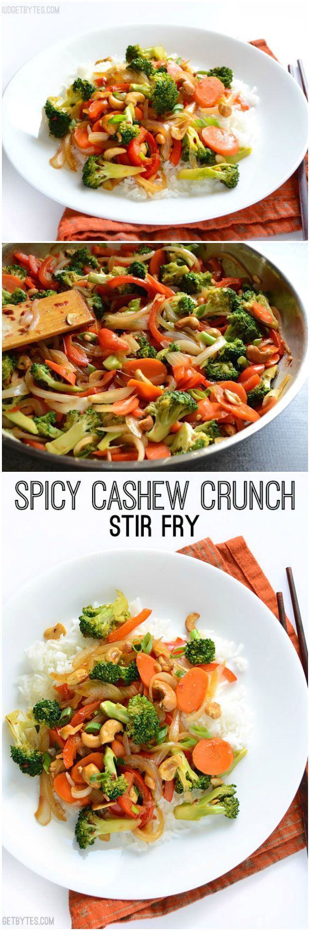 This simple Spicy Cashew Crunch Stir Fry has an extra spicy sauce, crunchy cashews, and lightly stir fried vegetables. Delicious dinner made fast! @budgetbytes