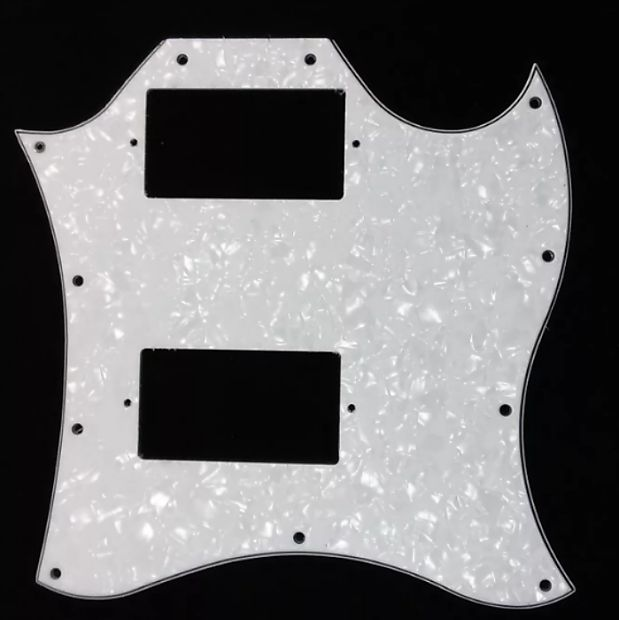 Pickguard replacement for Gibson Epiphone SG G400 style electric guitars 11 hole 3 ply White Pearloid.Please check measurements with photo before you buy.