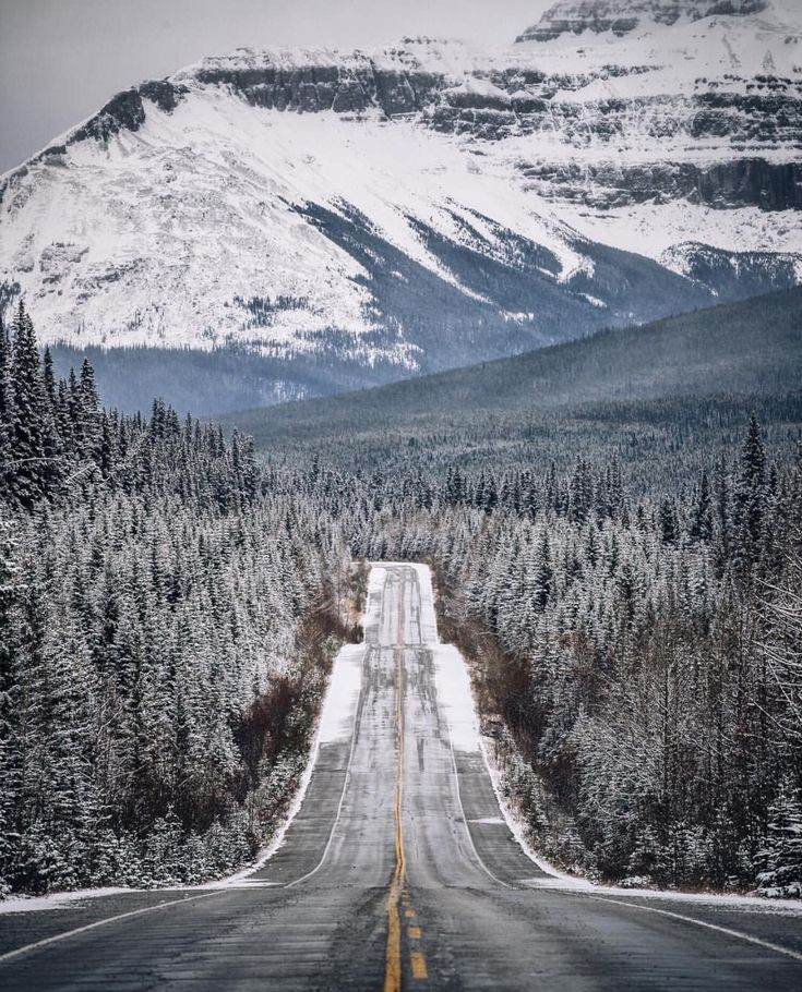 The mountains look better covered in winter. Icefields Parkway, AB shot by @93mp | Follow us on Instagram @upknorth