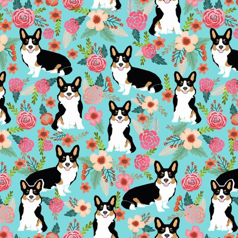 corgi cute black and tan welsh cardigan corgi with florals flowers cute painted floral design corgi lovers will adore this fabric fabric - petfriendly - Spoonflower
