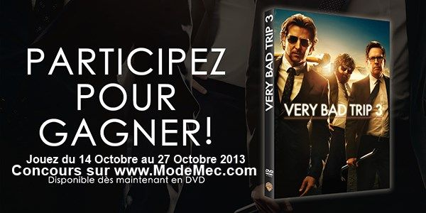 #concours #DVD  #VeryBadTrip3 Very Bad Trip 3 #gratuit à #gagner