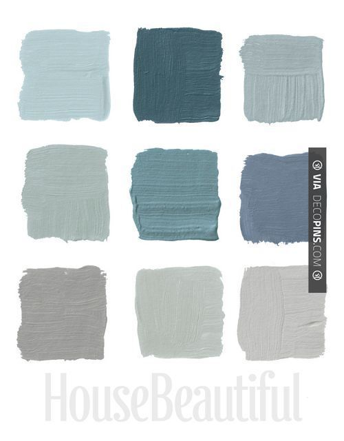Paint Color Palettes 26 designers pick their favorite grays. Some fantastic colors like Farrow and Ball claydon blue 87