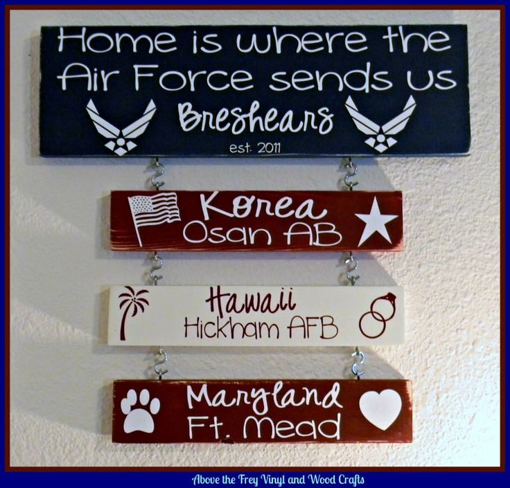 Home is where the Air Force sends us. Please see more signs and items at www.facebook.com/sassyfrassycrafty. Thanks!