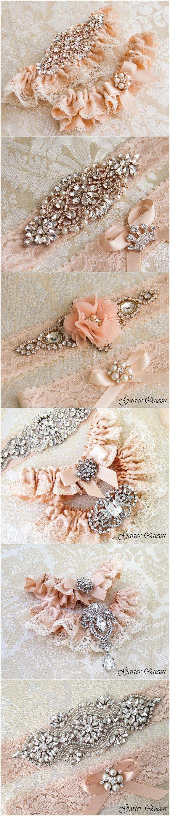 Blush Ivory Lace Wedding Garter Sets / http://www.deerpearlflowers.com/wedding-garters-sets-from-etsy/3/