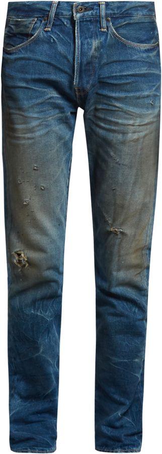 KURO Aulick distressed slim-leg jeans