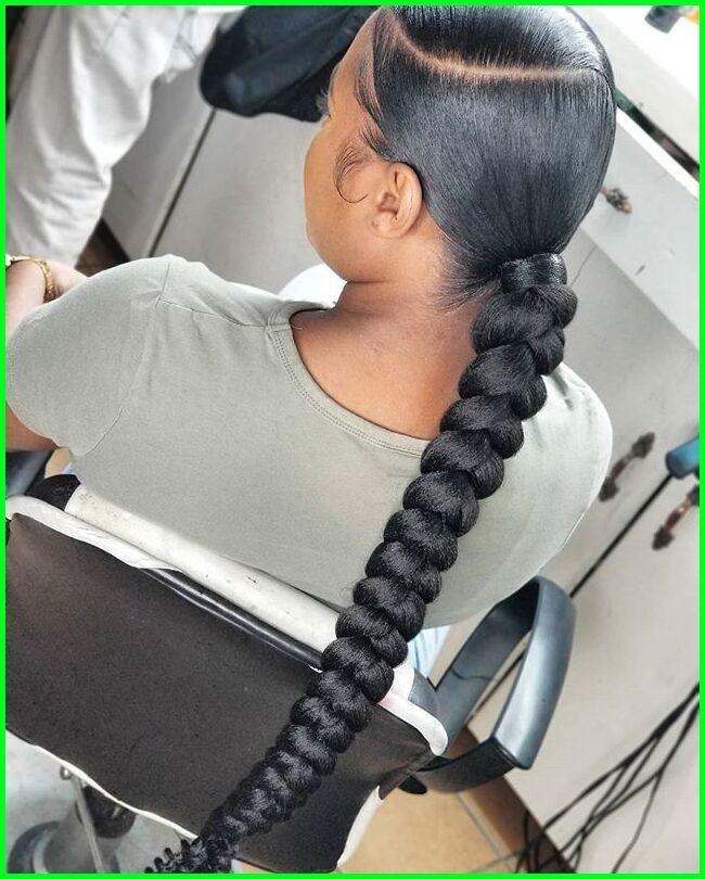 Cute Low Bun In 2021 Hair Ponytail Styles Sleek Braided Ponytail Black Ponytail Hairstyles