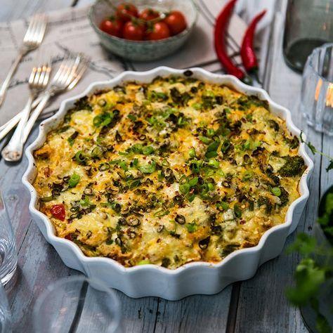 Kyckling matpaj gratäng: Kycklinggratäng med bacon, blomkål och broccoli