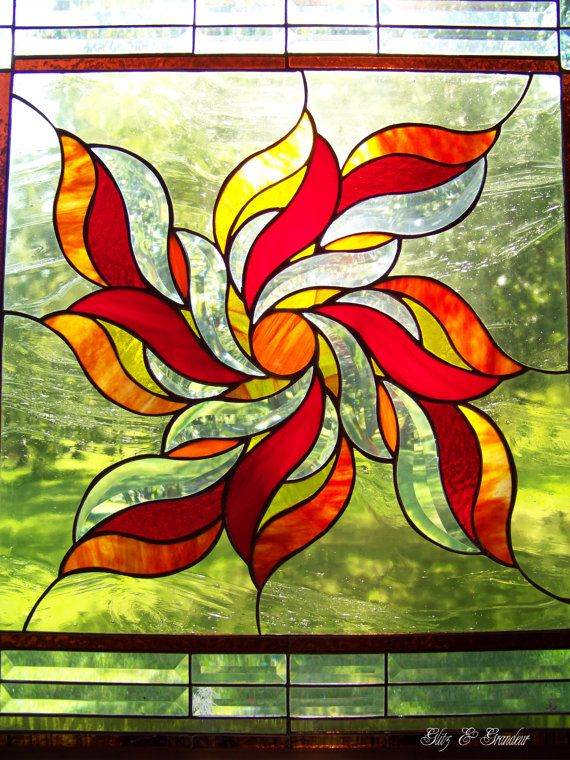 Sunburst Stained Glass Panel by GlitzAndGrandeur on Etsy