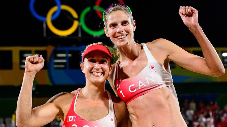 Sarah Pavan and Heather Bansley celebrate a victory over Switzerland at Rio 2016 / Photo via FIVB