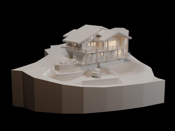 Chalet Barmaz II - Architecture Verbier Ski Alps 3D Printing Architecture 3D White Model Render #architecture #projet #chalet #maquette #noiretblanc