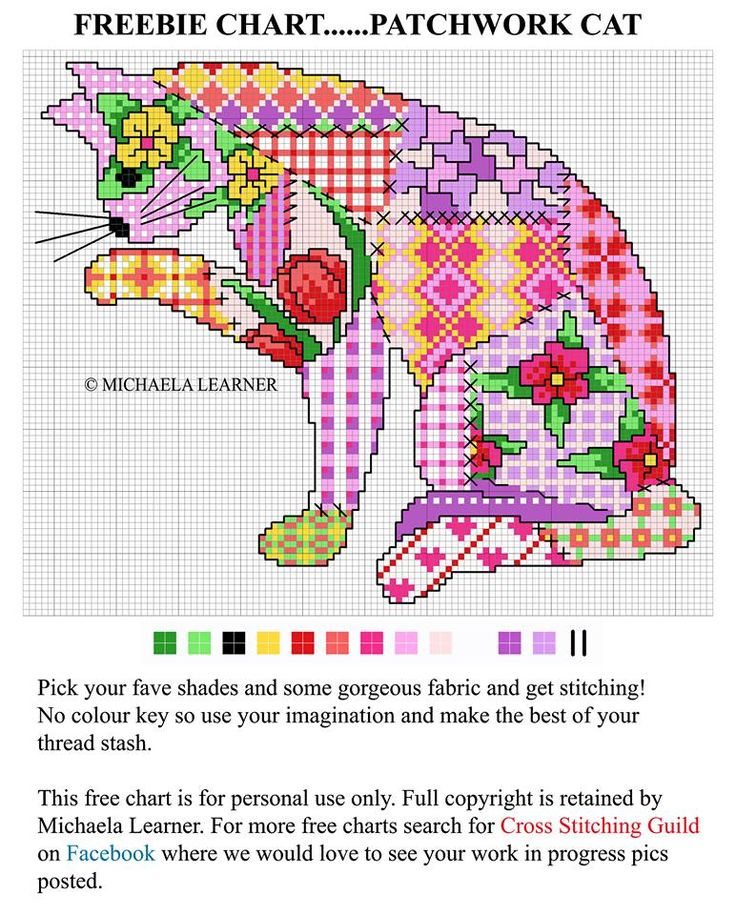 Patchwork cat cross stitch