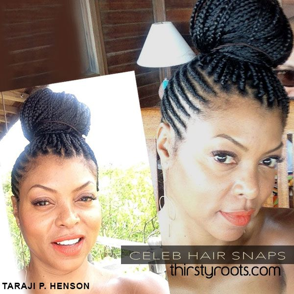 Taraji P. Henson side cornrows and braids in a bun | thirstyroots.com: Black Hairstyles and Hair Care