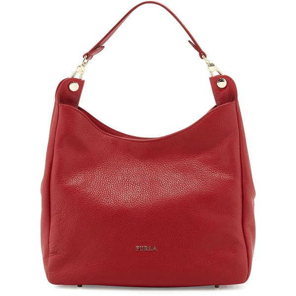 Furla Raffaella Leather Hobo Bag ($224) ❤ liked on Polyvore featuring bags, handbags, shoulder bags, cabernet, furla handbags, genuine leather hobo handbags, leather hobo purse, red leather handbag and hobo purse