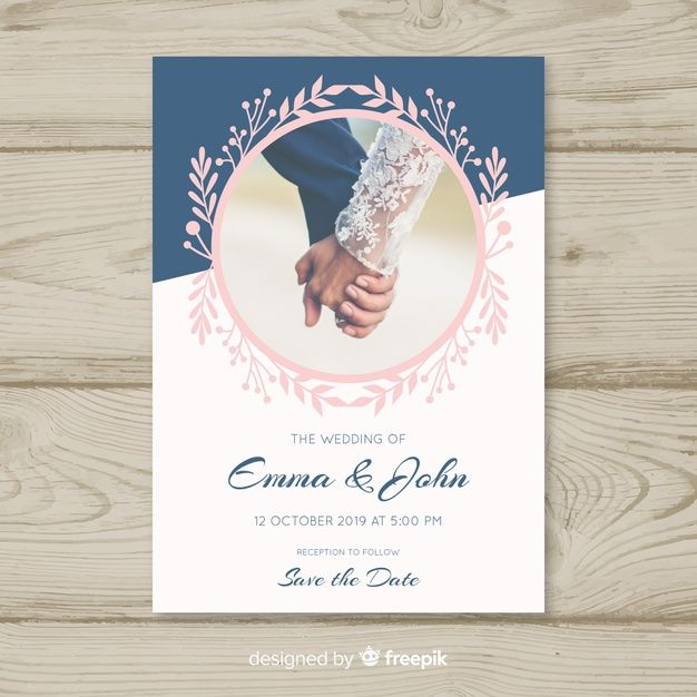 Elegant Wedding Invitation With Photo Free Vector Free