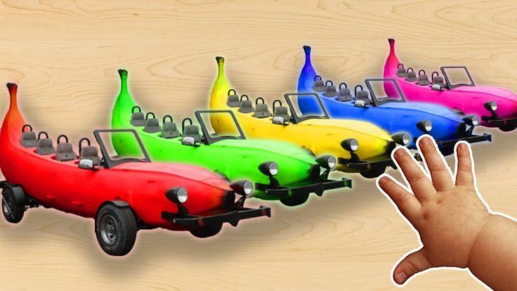 Learn Colors with Banana Cars Song | Surprise Eggs Hammer Nursery Rhymes...