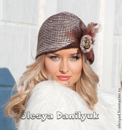 """Шляпка """"Два лица"""" - в полоску,шляпка женская,шляпка-клоше,шляпка крючком"""