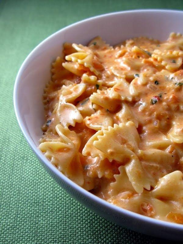 creamy tomato pasta ~ bowtie pasta, sautéed veggies, Greek yogurt and tomato/marinara sauce