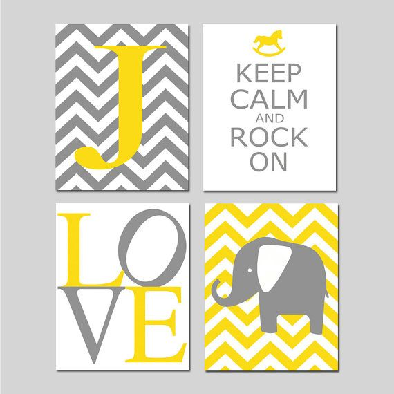 Chevron Elephant Love Nursery Art Quad - Keep Calm and Rock On, Chevron Initial - Set of Four 8x10 Prints - Choose Your Colors on Etsy, $65.00