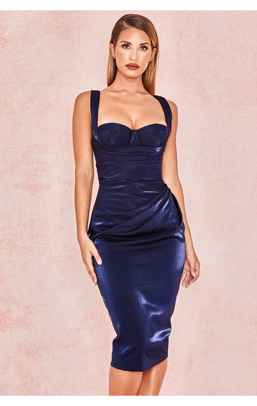 59af2fa78870 Loulou Metallic Navy Corset Drape Dress | style°s in 2019 | Dresses ...