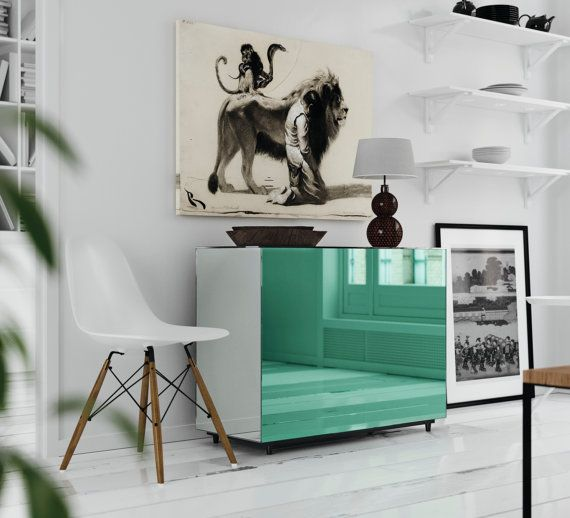 Mirrored nightstand. Teal mirrored nightstand by MirrorCooperative