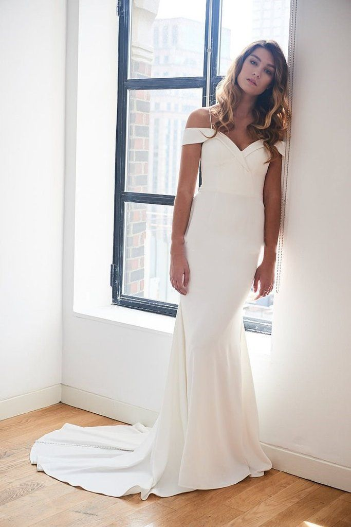 off the shoulder crepe bridal dress simple