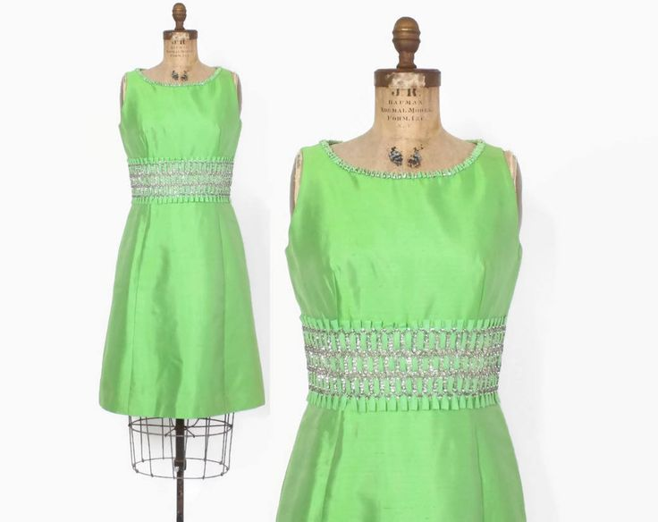 Vintage 60s Cocktail DRESS / 1960s Lime Green SILK Rhinestone Trim Cocktail Party Dress S #60sstyle #60sfashion #vintagestyle #vintagefashion