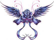 Blauwe+Gevleugelde+Roos+Tattoo