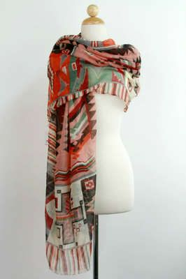 New Anthropologie Colorful Red Southwestern Indian Native American Tribal Scarf | eBay
