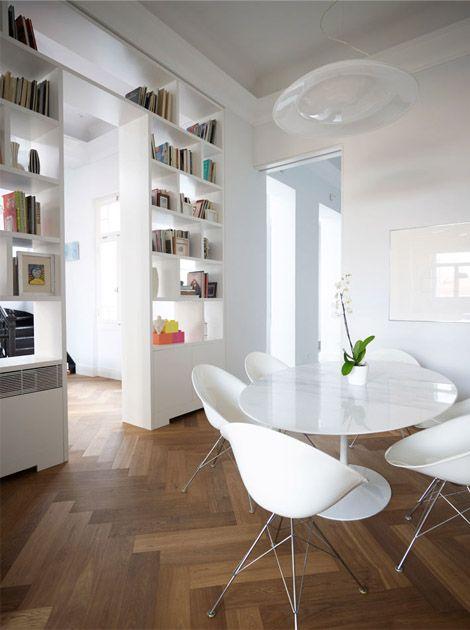 : Dining Rooms, Bookshelves, Open Shelves, Chairs, Books Shelves, Interiors Design, Rooms Dividers, Modern Interiors, Herringbone Floors