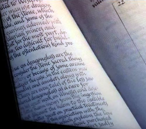 """Here's What You 100% Missed From The """"Game Of Thrones"""" Premiere  While half of this page is cut off, it's possible to get a rough idea of what it's banging on about. We already know the chapter is about dragonglass and its uses – the opposite page is..."""