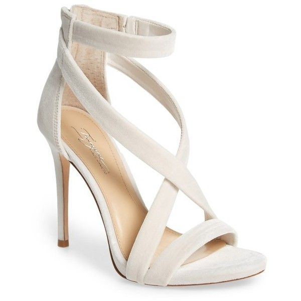 Women's Imagine Vince Camuto 'Devin' Sandal ($110) ❤ liked on Polyvore featuring shoes, sandals, ivory velvet, strappy stiletto sandals, strap sandals, heels stilettos, ivory sandals and stiletto sandals