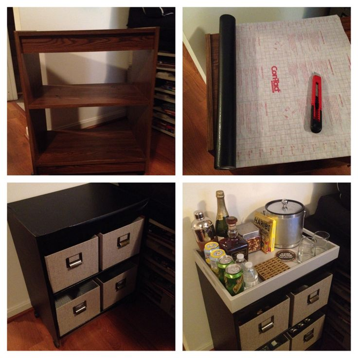 Diy Bar Cart Cover An Old Shelf On Wheels With Contact Paper And
