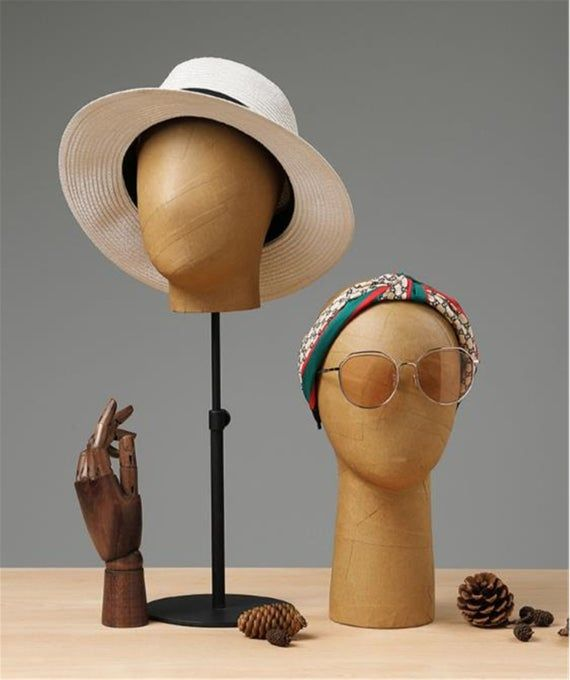 Adjustable Kraft Paper Effected Mannequin Holder Stand Etsy In 2021 Mannequin Head Stand Earring Display Stands Hat Stands