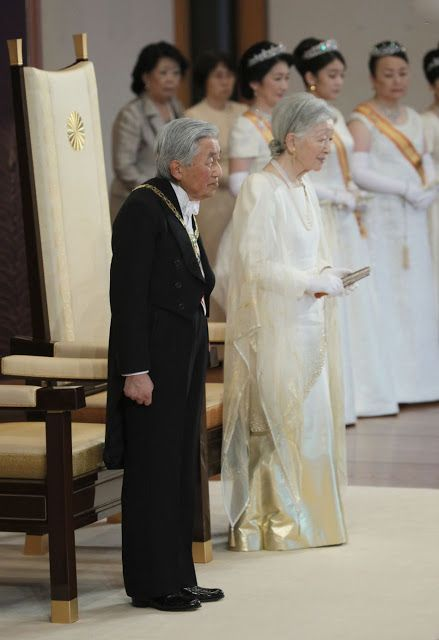 Emperor Akihito of Japan and Empress Michiko during the official ceremony of New Year's greetings at the Imperial Palace on January 1, 2018 in Tokyo.