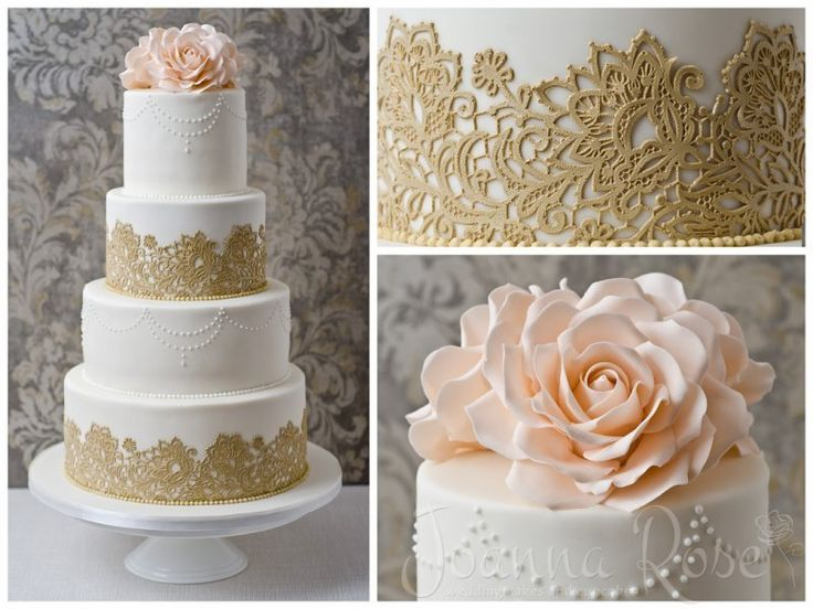 This sugar lace work is amazing!!  Victoria: A stately four-tier wedding cake with antique beige sugar lace and large blush signature roses