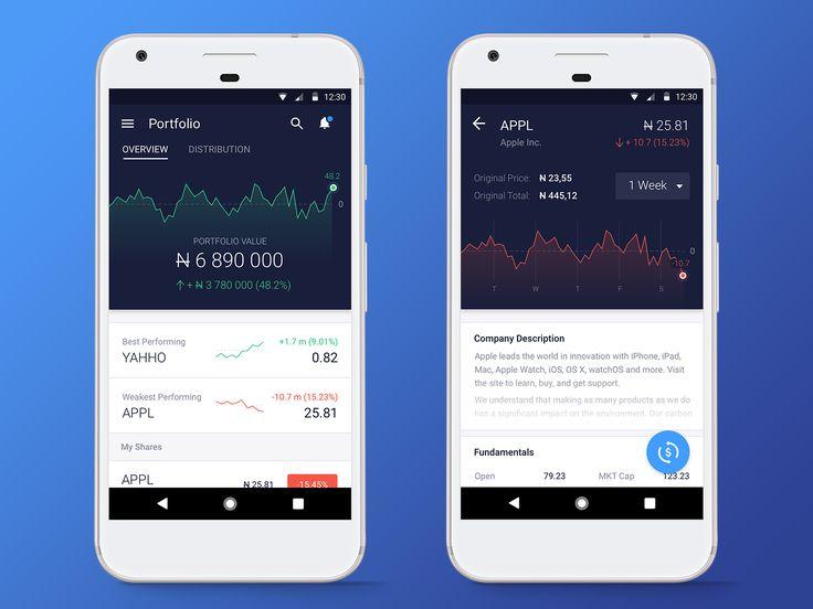 Stocks & Shares app concept - by Anatoliy Nesterov | #ui