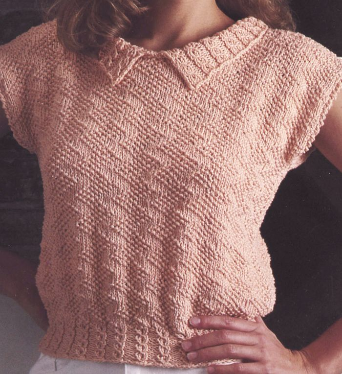 """Free Knitting Pattern for Zigzag Top - Free for a Limited Time from Leisure Arts. Other free patterns on page. Short-sleeved pullover top with split collar, zigzag texture, and cable hem. Small 36"""", Medium 40"""", and Large 44"""" Free for a couple of weeks at http://www.shareasale.com/r.cfm?u=1112880&b=146498&m=19565&afftrack=freezigpin&urllink=www%2Eleisurearts%2Ecom%2Ffree%2Dpattern%2Dfriday%2Da%2Da Scroll down page to see pattern"""