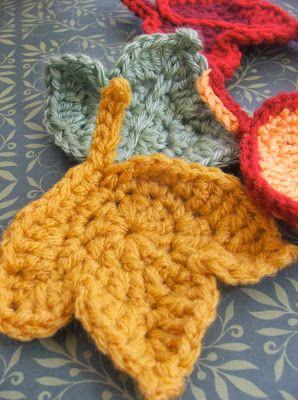 herfstblaadjes haken - crochet fall leaves